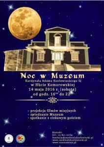 Po raz kolejny ZAPRASZAMY na NOC w Muzeum 14 maja 2016 r. (sobota) w godz. od 16.00 do 22.00